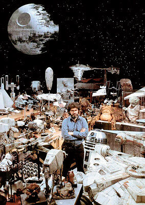 George Lucas with original Star Wars props Poster