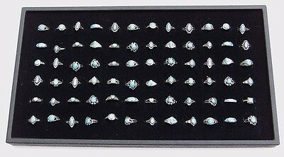 72 Slot Black Jewelry Travel Ring Insert Display Pad with Stack-able Tray