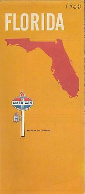 1968 AMERICAN OIL COMPANY Road Map FLORIDA Tampa Miami Jacksonville Tallahassee