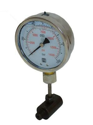 """Hydraulic Pressure Gauge with Stand (14500 psi - 4"""") HM-100"""