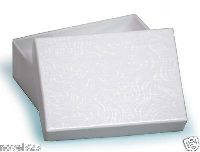 Wholesale 25 Small White Charm Swirl Cotton Fill Jewelry Gift Boxes 2 1/8""