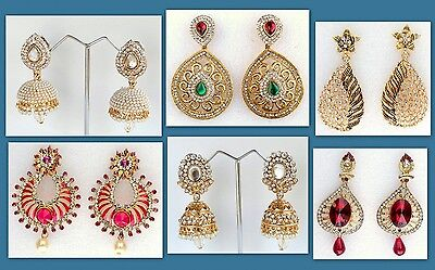 Ethnic Indian Gold Plated Bollywood Wedding Party Jewelry Earrings 6 colors