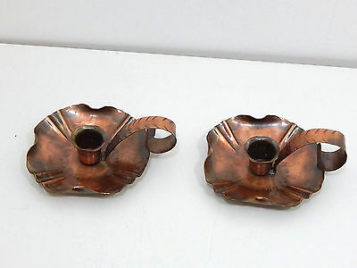Vintage Arts and Crafts Hand Hammered Copper Pair of Candlesticks Craftsman Co