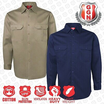 WORK SHIRT NAVY KHAKI Air Vent UPF 50 COTTON DRILL LONG SLEEVE TRADITIONAL SHIRT