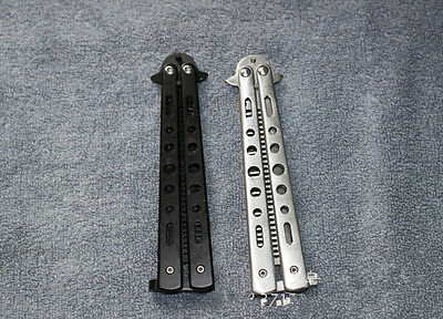 Stainless Steel Metal Practice Training Butterfly Balisong Style Knife Comb GRAU