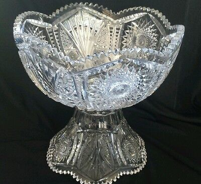 """ABP Cut Glass J. HOARE """"Bolo"""" 14"""" Punch Bowl with Stand"""