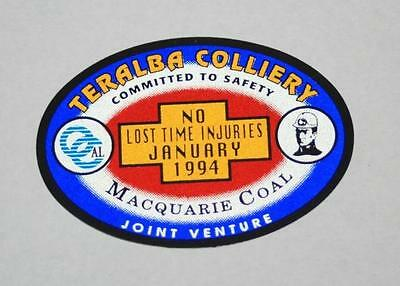 Retro Sticker - Teralba Colliery -No Lost Time Injuries January 1994