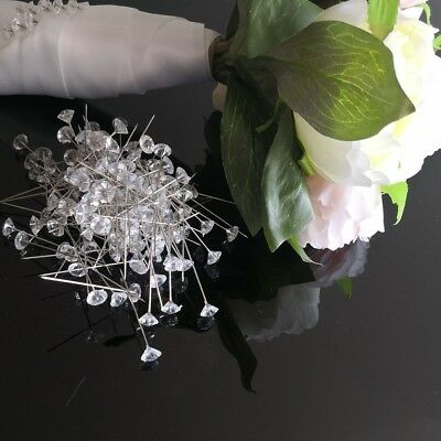 20/50/100 Wedding Bouquet Plastic Clear Diamante Pins 48mm