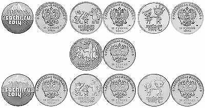Russia 2014 Olympic Games Sochi FULL SET 7 x 25 ROUBLES (rubles) 2011-2014 UNC