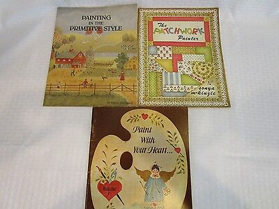 Painting Instruction Books - Lot of 3 - Tole Painting - Primitive - Patchwork