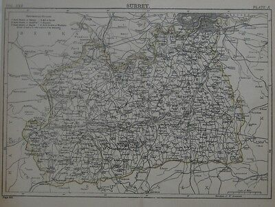 Original 1888 Shire Map SURREY England Wimbledon Epsom Richmond Kingston Croydon
