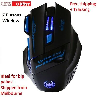 7 Button 2.4Ghz Wireless Optical Gaming Mouse For Windows and Mac Aus Stock