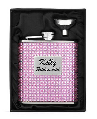 Engraved 6oz PINK CRYSTAL BLING Stainless Steel Hip Flask & Funnel Personalized
