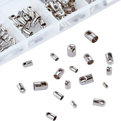 1Box Mixed Platinum Plated Brass Crimp Cord Ends Tip Glue on Barrel End Caps