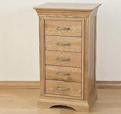 Lourdes solid oak french furniture tallboy wellington chest of five drawers