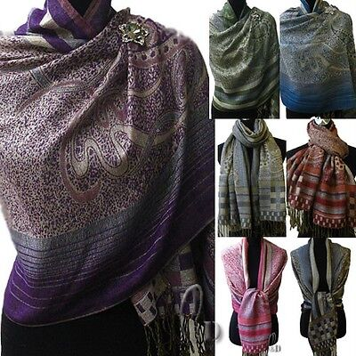 WHOLESALE BULK LOT OF 20 MIXED STYLE Pashmina&Shiny thread Warp SCARF/SHAWL