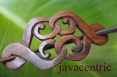 Carved wooden CELTIC Hair Pin Barrette Clasp Clip Slide handmade Sono wood new