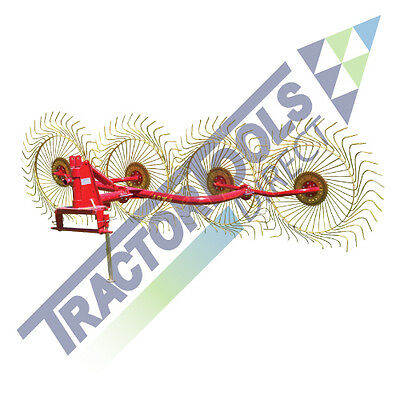 T88 4 Wheel Hay Rake for Compact Tractors, 3-Point Hitch
