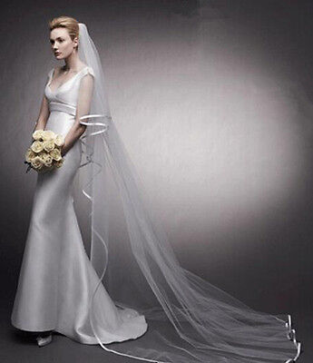"100""Long Cathedral Satin Edge Veils 1 Tier Bridal Wedding Accessory without Comb"