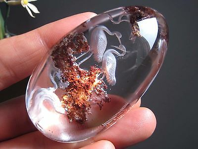 A*96g Natural Clear Crystal Crane Tridimensional Reverse Carving 043001