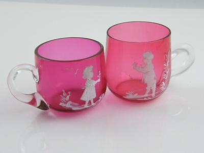 Pr Cranberry Glass Mary Gregory Boy & Girl Cups