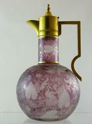Bohemian Amethyst Intaglio Glass Decanter With Gilt Mount