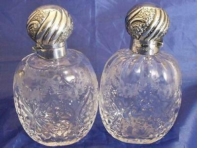 Silver Hallmarked 1898 Glass Perfume Bottles With Etched Floral & Swag Design.