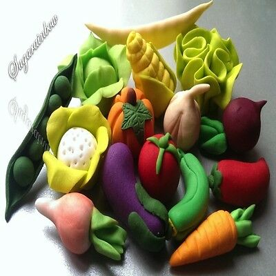 15 edible sugar paste vegetables cake cupcake toppers decorations 3D