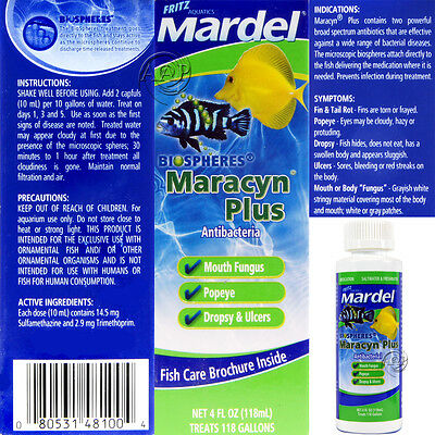 Maracyn Plus, 4 oz by Mardel/Fritz;  for Fin & Tail Rot, Aeromonas in Aquarium
