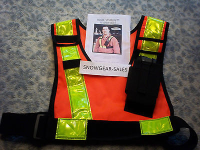 High Vis Safety Radio Vest. Adjustable radio mount. ORANGE