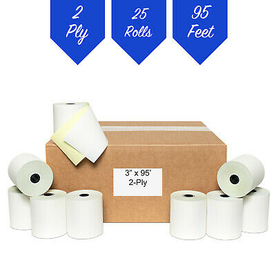 "3"" x 95' 2 PLY BOND CARBONLESS PoS RECEIPT PAPER 25 ROLLS ** FREE SHIPPING **"