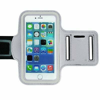"Universal Adjustable Armband Case Holder For Mobiles UpTo 5.2"" White (Large)"