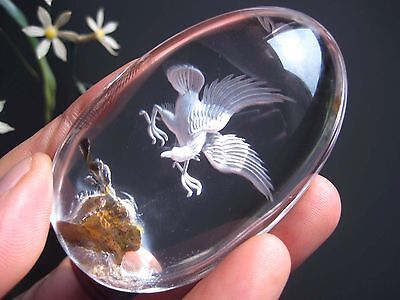 A*131g Natural Clear Quartz Crystal Eagle Tridimensional Reverse Carving 043002