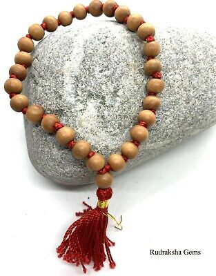 White Sandal Wood Safed Chandan Bracelet Wrist Band Rosary Beads Japa Mala Yoga