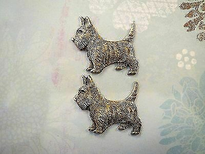 Oxidized Brass Scottish Terrier Stampings (2) - BOGB6834 Jewelry Finding