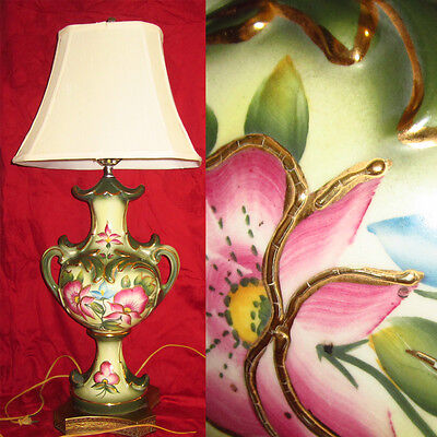 Large HAND PAINTED 1940s Ceramic Table Lamp Floral Greek Urn Shape SIGNED!