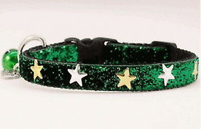 """Green Sparkle With Stars Cat-Kitten Collar 9"""" With Bell"""