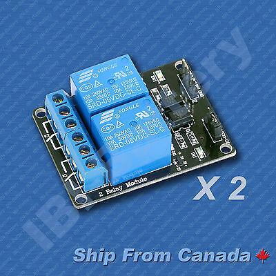 Set of two 2-Channel Opto-Isolated Relay Module Low Trigger 5V Arduino