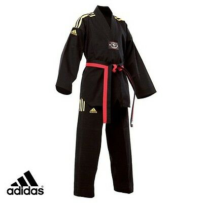 New adidas Taekwondo Uniform adidas CHAMPION Dobok Set-BLACK w/Yellow 3 Stripes