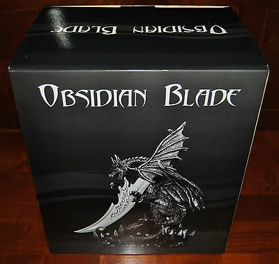 HD19198 OBSIDIAN BLADE WINGED DRAGON KNIFE DECORATIVE (NEW)