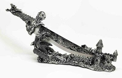 Obsidian Athame Dragon and Castle Dagger Holder Knife Decor Fantasy Collectible