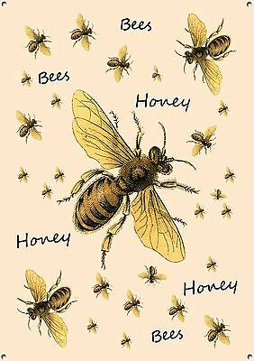 """HONEY BEES"" Metal Sign, Collectable, Cooking, Vintage, Retro, Enamel, No.491"
