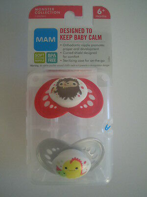 VERY RARE DESIGN & CUTE ! MAM Pacifiers Orthodontic Nipples Monster Collection