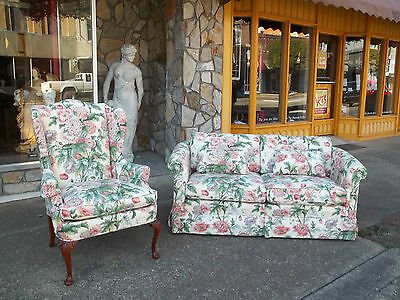 Spectacular Queen Anne Wing Chair and Settee by Hickory Chair 20th century.