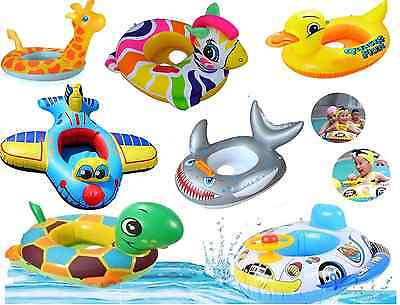 Kids BabyToddlerSwimming Pool SwimSeatFloat Boat Ring With Wheel  and Horn