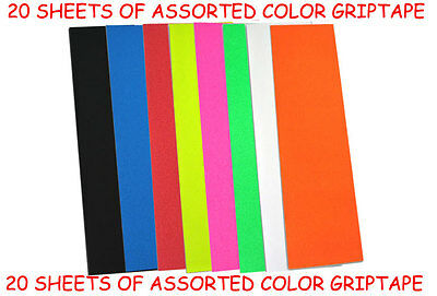 20 SHEETS OF PRO SKATEBOARD GRIP TAPE Assorted Colors!!