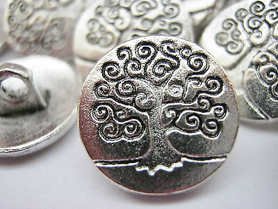 """10 Tree of Life Metal Shank Sewing Buttons 15mm (5/8"""") Silver Tree Coat Buttons"""
