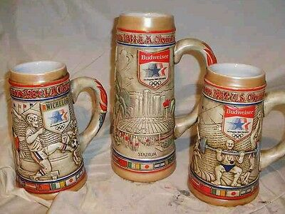 1984 U.S. Olympics beer steins, complete collection of 3 and very rare