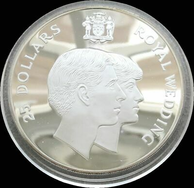 1981 Silver Jamaica Proof $25 Wedding Of Prince Charles & Lady Diana  4.365 Oz