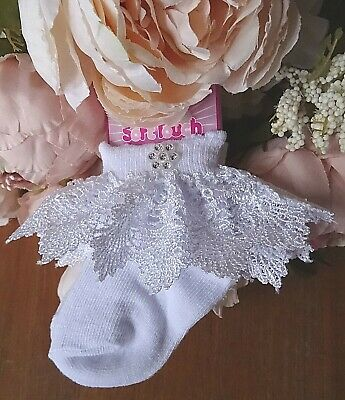 Baby White Cream Rhinestone Guipure Lace Frilly Christening Party Socks 0-3-6-12